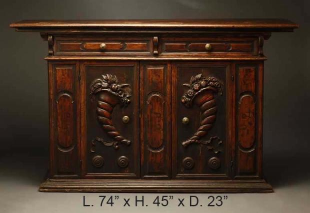 Italian Baroque Style Walnut Crendenza with cornacopia carving on doors